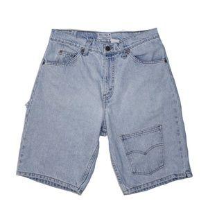 Reworked Levi's Long Jean Shorts Light Wash